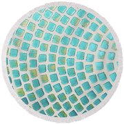 turquoise meets green P2 Round Beach Towel