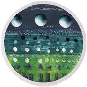 Turquoise Moons Round Beach Towel