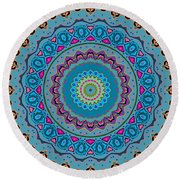Turquoise Necklace Mandala Round Beach Towel