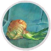 Turquoise Onion Round Beach Towel