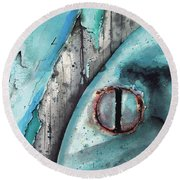 Turquoise Paint Round Beach Towel