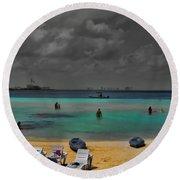 Turquoise Paradise Round Beach Towel
