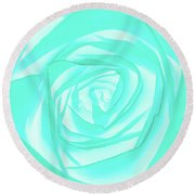 Turquoise Rose Round Beach Towel