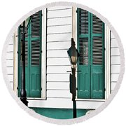 Turquoise Shutters Round Beach Towel