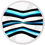 Turquoise Teal Abstract Lines Round Beach Towel