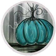Turquoise Teal Surreal Pumpkin Round Beach Towel