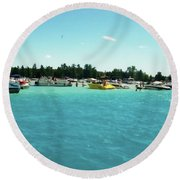 Turquoise Waters At The Torch Lake Sandbar Round Beach Towel