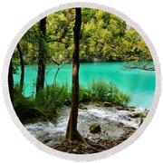 Turquoise Waters Of Milanovac Lake Round Beach Towel