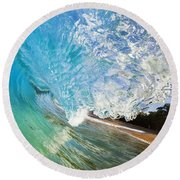 Turquoise Wave Tube Round Beach Towel
