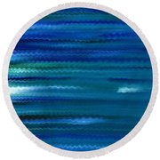 Turquoise Waves Round Beach Towel