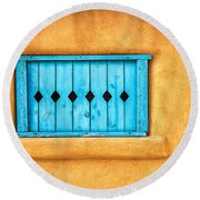 Turquoise Window Shutter Round Beach Towel