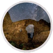 Turret Arch Milkyway, Arches National Park, Utah Round Beach Towel