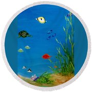 Turtle And Friends Round Beach Towel