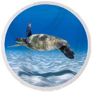 Turtle Flight -  Part 2 Of 3  Round Beach Towel