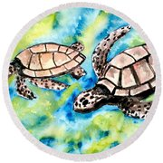 Turtle Love Pair Of Sea Turtles Round Beach Towel