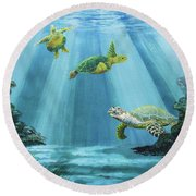Turtle Reef Round Beach Towel