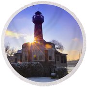 Turtle Rock Light House At Sunrise Round Beach Towel