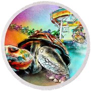 Turtle Slide Round Beach Towel