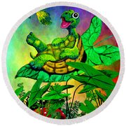 Turtle-totter Round Beach Towel