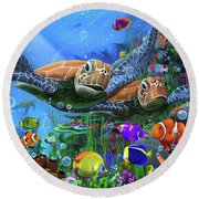 Turtles Of The Deep Round Beach Towel