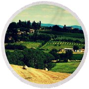 Tuscan Country Round Beach Towel