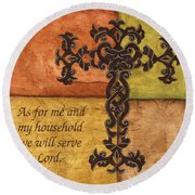 Tuscan Cross Round Beach Towel by Debbie DeWitt
