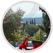 Tuscan Landscape And Scooter Round Beach Towel