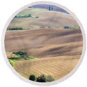 Tuscan Landscape With Plowed Fields Round Beach Towel