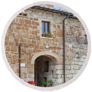 Tuscan Old Stone Building Round Beach Towel