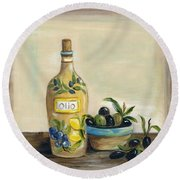Tuscan Olive Oil  Round Beach Towel