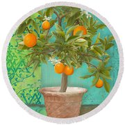 Tuscan Orange Topiary - Damask Pattern 2 Round Beach Towel
