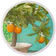 Tuscan Orange Topiary - Damask Pattern 3 Round Beach Towel