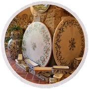 Tuscan Pottery Round Beach Towel