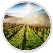 Tuscan Sunrise Round Beach Towel