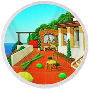 Tuscan Vacation Round Beach Towel