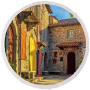 Tuscan Villa Early Morning Round Beach Towel