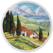 Tuscan Villas Round Beach Towel
