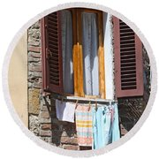 Tuscan Window And Laundry Round Beach Towel
