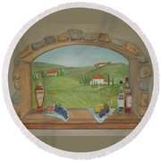 Tuscan Window View Round Beach Towel