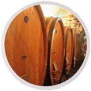Tuscan Wine Cellar Round Beach Towel