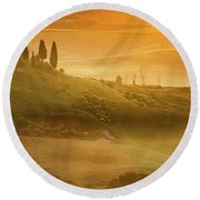 Tuscany In Golden Round Beach Towel