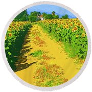 Tuscany Sunflowers Round Beach Towel