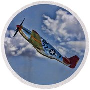 Tuskegee Mustang Red Tail Round Beach Towel