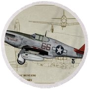 Tuskegee P-51b By Request - Profile Art Round Beach Towel