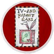 Tv And Rabbit Ears Round Beach Towel