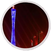 Tv Tower At Night Round Beach Towel