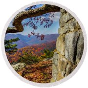 Twenty Minute Cliff Blue Ridge Parkway I Round Beach Towel