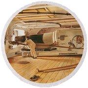 Twenty-seven Pound Cannon On A Battleship Round Beach Towel