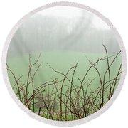 Twigs In Mist Round Beach Towel