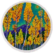 Twilight Aspens Round Beach Towel